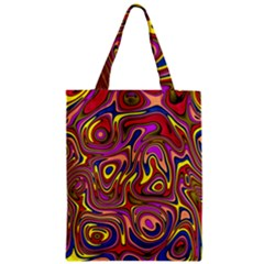 Abstract Shimmering Multicolor Swirly Zipper Classic Tote Bag