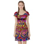 Abstract Shimmering Multicolor Swirly Short Sleeve Skater Dress