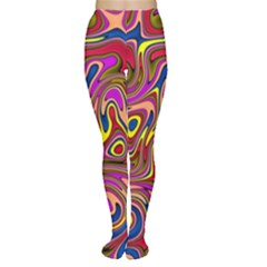 Abstract Shimmering Multicolor Swirly Women s Tights