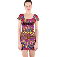 Abstract Shimmering Multicolor Swirly Short Sleeve Bodycon Dress by designworld65