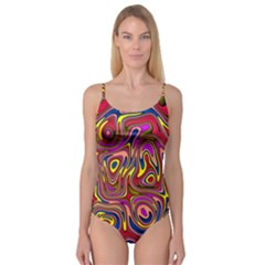 Abstract Shimmering Multicolor Swirly Camisole Leotard