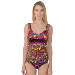 Abstract Shimmering Multicolor Swirly Princess Tank Leotard  by designworld65