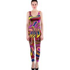 Abstract Shimmering Multicolor Swirly Onepiece Catsuit by designworld65