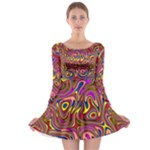 Abstract Shimmering Multicolor Swirly Long Sleeve Skater Dress