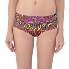 Abstract Shimmering Multicolor Swirly Mid-Waist Bikini Bottoms