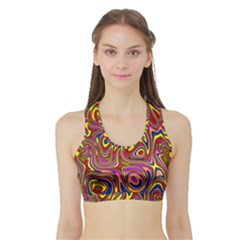 Abstract Shimmering Multicolor Swirly Sports Bra with Border