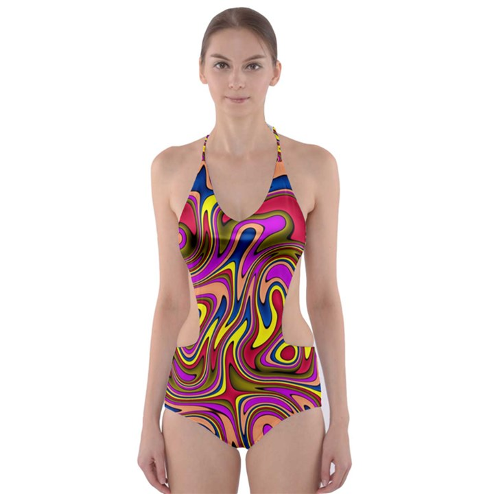 Abstract Shimmering Multicolor Swirly Cut-Out One Piece Swimsuit