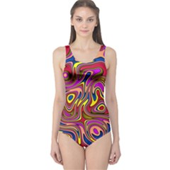 Abstract Shimmering Multicolor Swirly One Piece Swimsuit