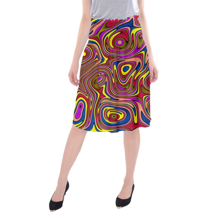 Abstract Shimmering Multicolor Swirly Midi Beach Skirt