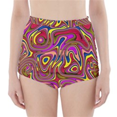 Abstract Shimmering Multicolor Swirly High Waisted Bikini Bottoms