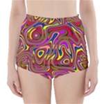 Abstract Shimmering Multicolor Swirly High-Waisted Bikini Bottoms