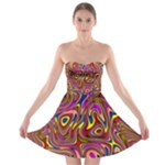 Abstract Shimmering Multicolor Swirly Strapless Bra Top Dress