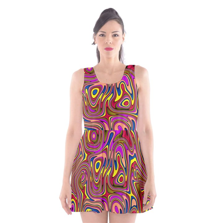 Abstract Shimmering Multicolor Swirly Scoop Neck Skater Dress