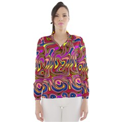 Abstract Shimmering Multicolor Swirly Wind Breaker (Women)