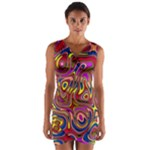 Abstract Shimmering Multicolor Swirly Wrap Front Bodycon Dress