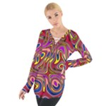 Abstract Shimmering Multicolor Swirly Women s Tie Up Tee