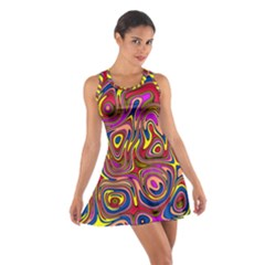 Abstract Shimmering Multicolor Swirly Cotton Racerback Dress