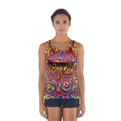 Abstract Shimmering Multicolor Swirly Women s Sport Tank Top