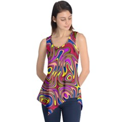 Abstract Shimmering Multicolor Swirly Sleeveless Tunic