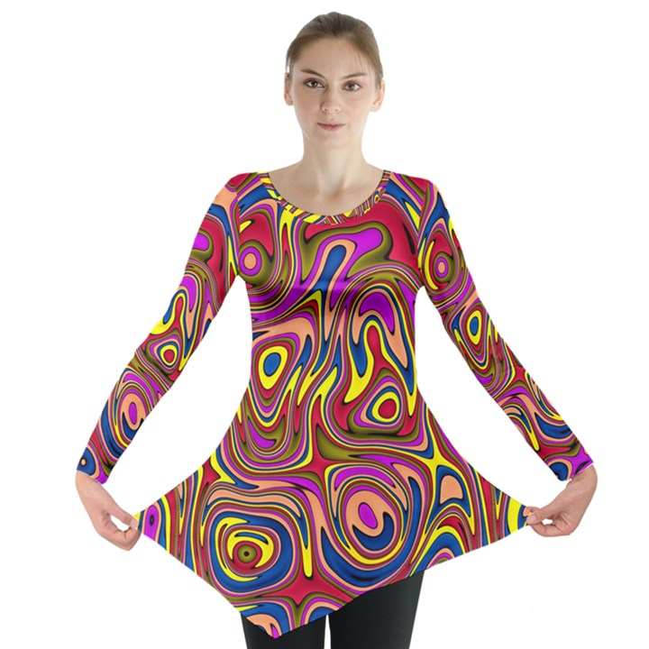 Abstract Shimmering Multicolor Swirly Long Sleeve Tunic