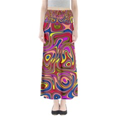 Abstract Shimmering Multicolor Swirly Maxi Skirts