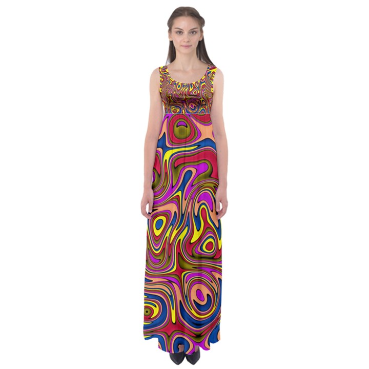 Abstract Shimmering Multicolor Swirly Empire Waist Maxi Dress