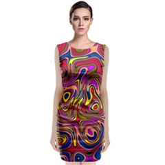Abstract Shimmering Multicolor Swirly Classic Sleeveless Midi Dress