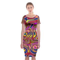 Abstract Shimmering Multicolor Swirly Classic Short Sleeve Midi Dress