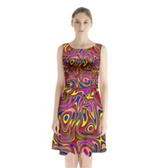 Abstract Shimmering Multicolor Swirly Sleeveless Chiffon Waist Tie Dress by designworld65