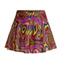 Abstract Shimmering Multicolor Swirly Mini Flare Skirt View1