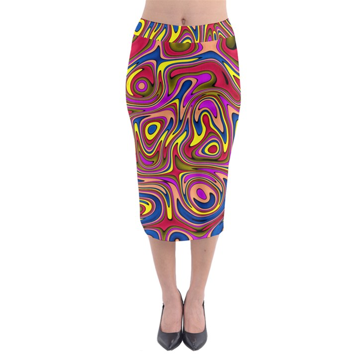 Abstract Shimmering Multicolor Swirly Midi Pencil Skirt