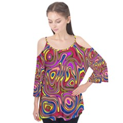 Abstract Shimmering Multicolor Swirly Flutter Tees