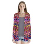 Abstract Shimmering Multicolor Swirly Drape Collar Cardigan