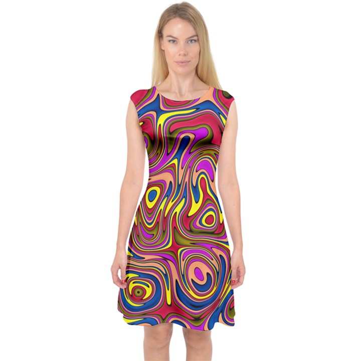 Abstract Shimmering Multicolor Swirly Capsleeve Midi Dress
