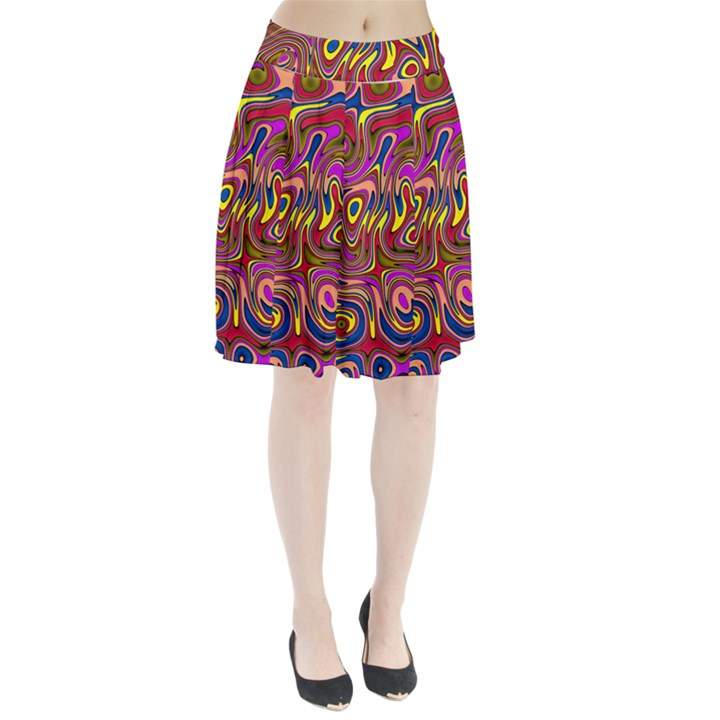 Abstract Shimmering Multicolor Swirly Pleated Skirt
