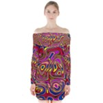 Abstract Shimmering Multicolor Swirly Long Sleeve Off Shoulder Dress
