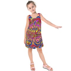 Abstract Shimmering Multicolor Swirly Kids  Sleeveless Dress