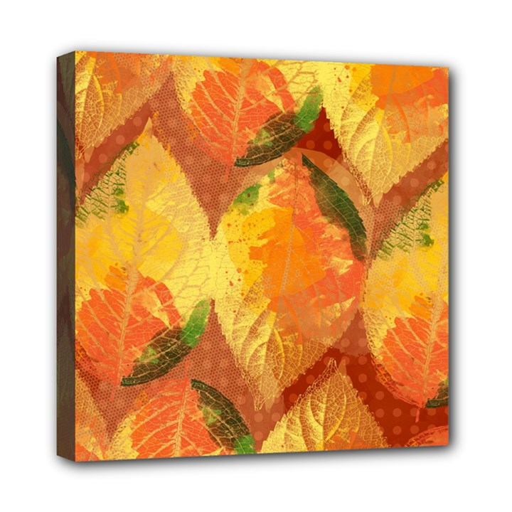 Fall Colors Leaves Pattern Mini Canvas 8  x 8