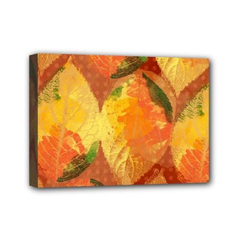 Fall Colors Leaves Pattern Mini Canvas 7  X 5
