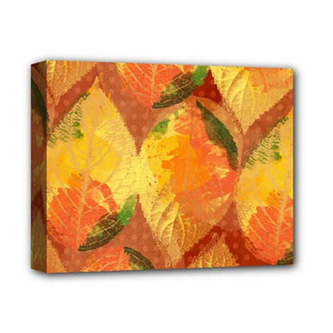 Fall Colors Leaves Pattern Deluxe Canvas 14  X 11  by DanaeStudio
