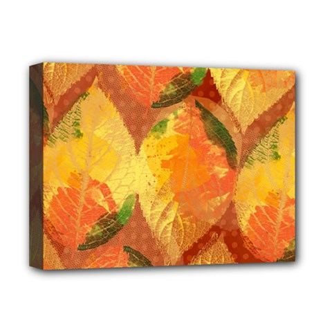 Fall Colors Leaves Pattern Deluxe Canvas 16  X 12   by DanaeStudio