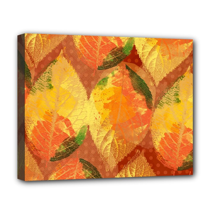 Fall Colors Leaves Pattern Deluxe Canvas 20  x 16