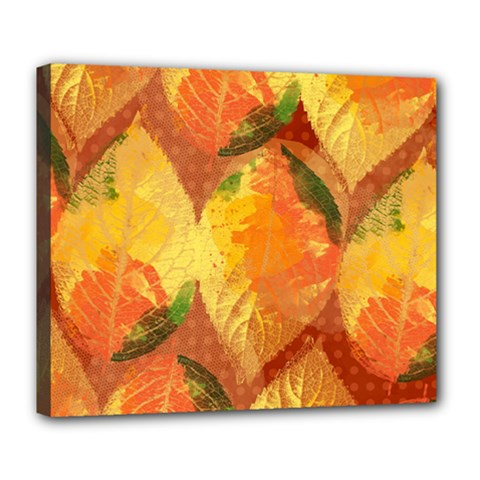 Fall Colors Leaves Pattern Deluxe Canvas 24  X 20   by DanaeStudio