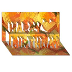 Fall Colors Leaves Pattern Happy Birthday 3d Greeting Card (8x4)