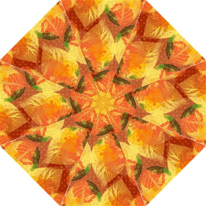 Fall Colors Leaves Pattern Hook Handle Umbrellas (Medium)