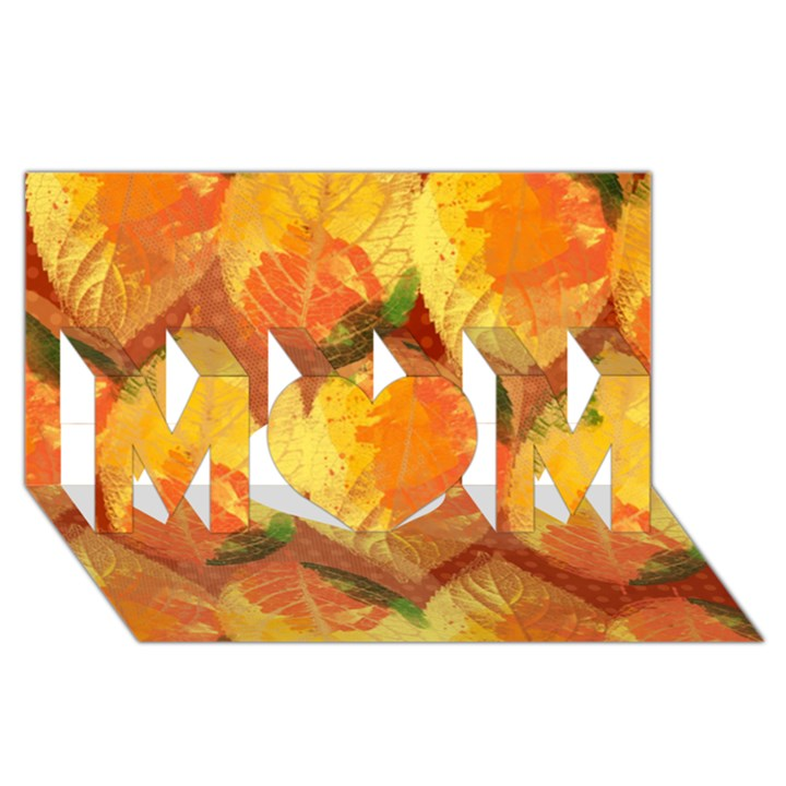 Fall Colors Leaves Pattern MOM 3D Greeting Card (8x4)