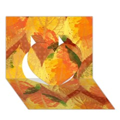 Fall Colors Leaves Pattern Heart 3d Greeting Card (7x5) by DanaeStudio