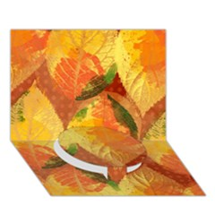 Fall Colors Leaves Pattern Circle Bottom 3d Greeting Card (7x5) by DanaeStudio