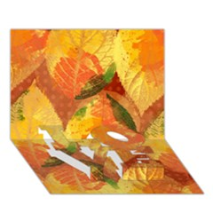 Fall Colors Leaves Pattern Love Bottom 3d Greeting Card (7x5) by DanaeStudio