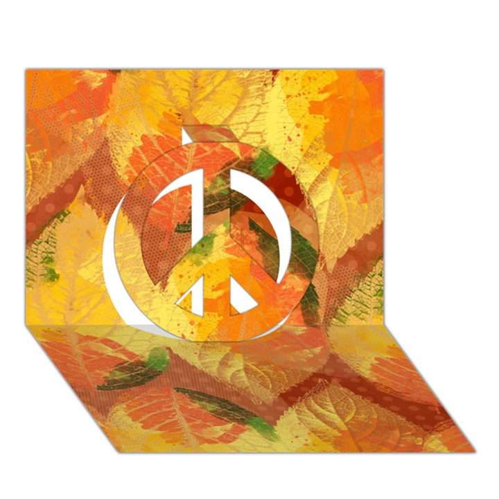 Fall Colors Leaves Pattern Peace Sign 3D Greeting Card (7x5)